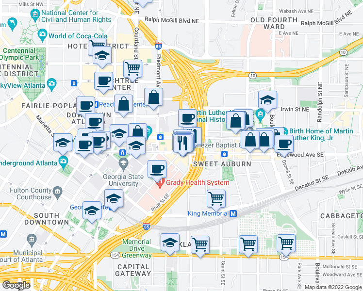 map of restaurants, bars, coffee shops, grocery stores, and more near 2-18 Bell Street Northeast in Atlanta