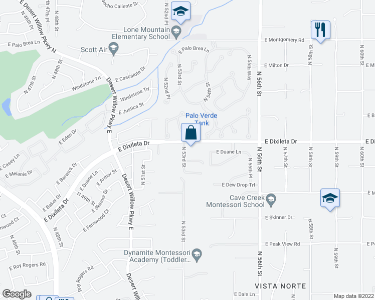 map of restaurants, bars, coffee shops, grocery stores, and more near 5307 East Dixileta Drive in Cave Creek