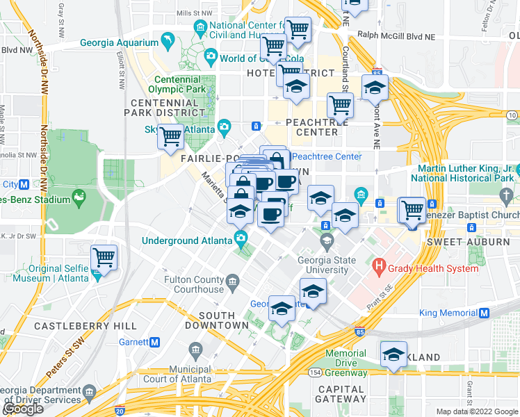map of restaurants, bars, coffee shops, grocery stores, and more near 50 Peachtree Street Northwest in Atlanta