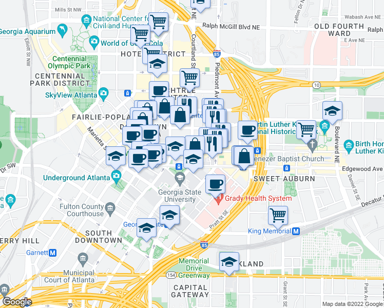 map of restaurants, bars, coffee shops, grocery stores, and more near 100 Auburn Avenue Northeast in Atlanta