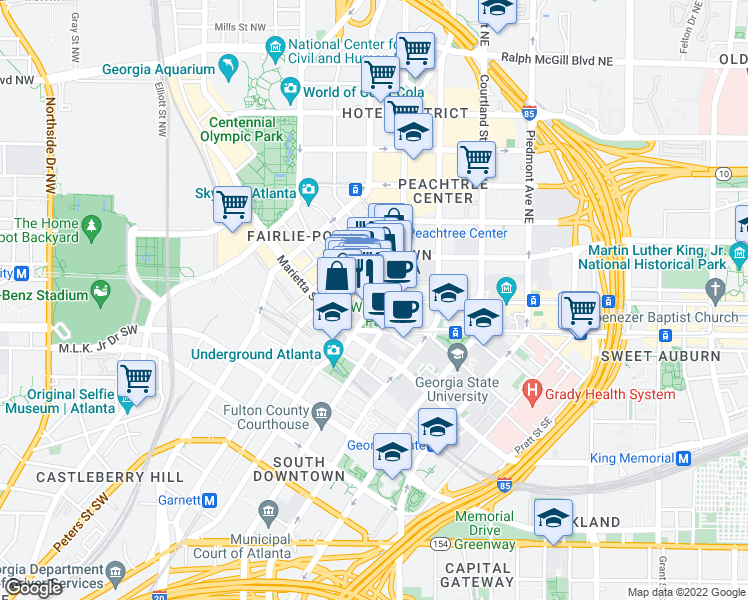 map of restaurants, bars, coffee shops, grocery stores, and more near 70 Peachtree Street Northwest in Atlanta