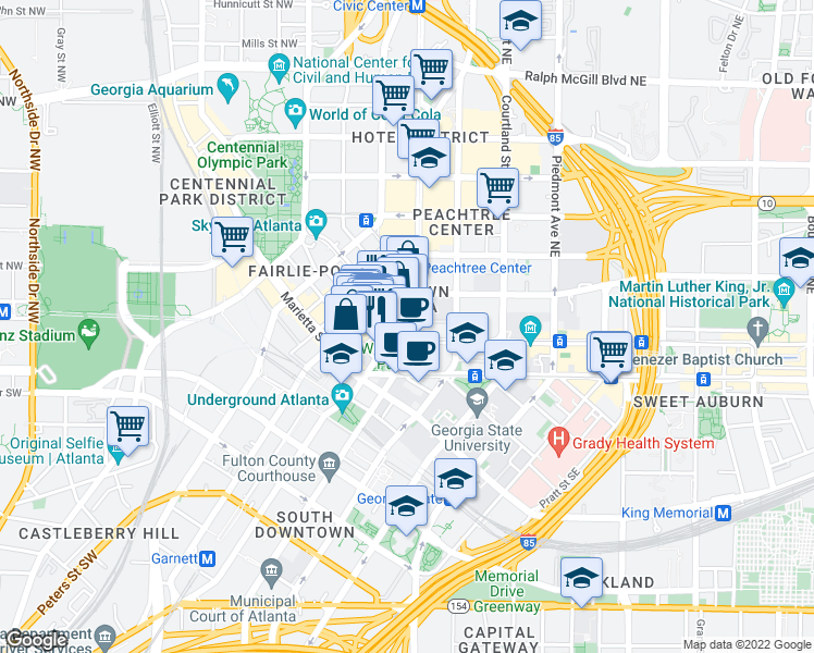 map of restaurants, bars, coffee shops, grocery stores, and more near None in Atlanta