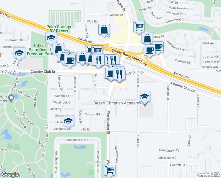 map of restaurants, bars, coffee shops, grocery stores, and more near Washington Street & Harris Lane in Palm Desert