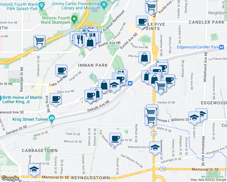 map of restaurants, bars, coffee shops, grocery stores, and more near 117 Elizabeth Street Northeast in Atlanta