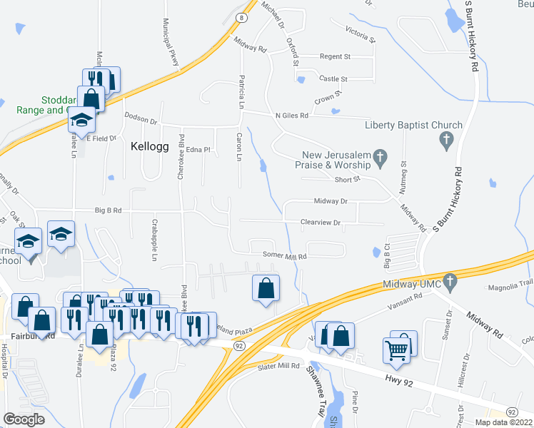 map of restaurants, bars, coffee shops, grocery stores, and more near 4350 Clearview Drive in Douglasville