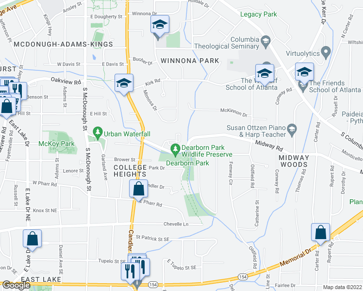 map of restaurants, bars, coffee shops, grocery stores, and more near 172 Midway Road in Decatur