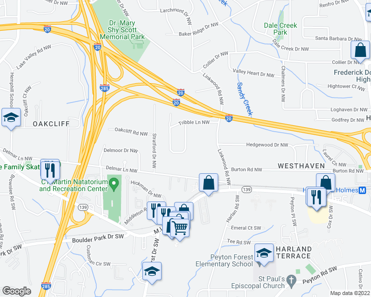 map of restaurants, bars, coffee shops, grocery stores, and more near Hermer Circle Northwest in Atlanta