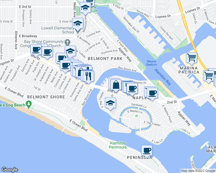 map of restaurants, bars, coffee shops, grocery stores, and more near 5443 East 2nd Street in Long Beach