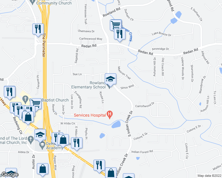 map of restaurants, bars, coffee shops, grocery stores, and more near 1317 South Indian Creek Drive in Decatur