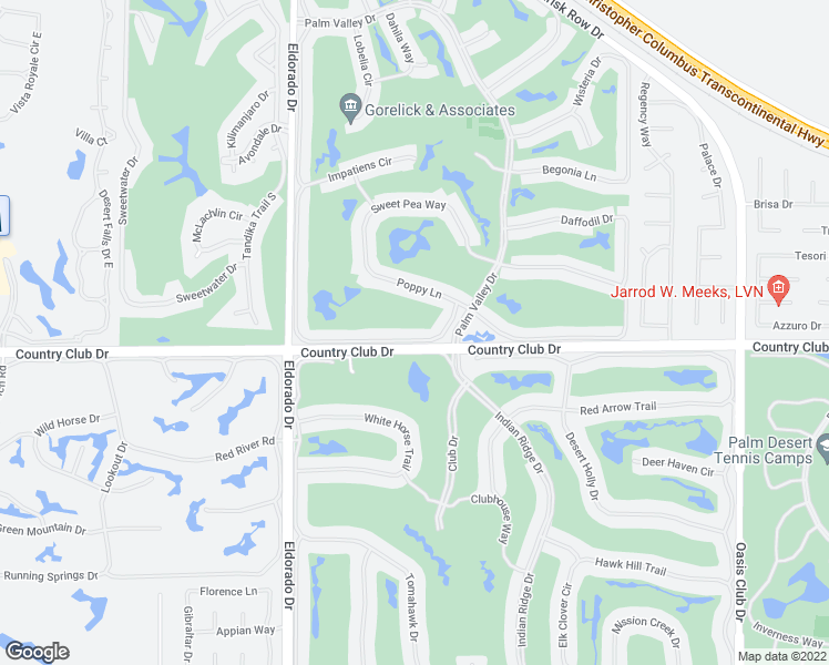 map of restaurants, bars, coffee shops, grocery stores, and more near 76268 Honeysuckle Drive in Palm Desert