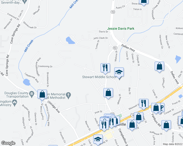 map of restaurants, bars, coffee shops, grocery stores, and more near 8032-8142 Carten Street in Douglasville