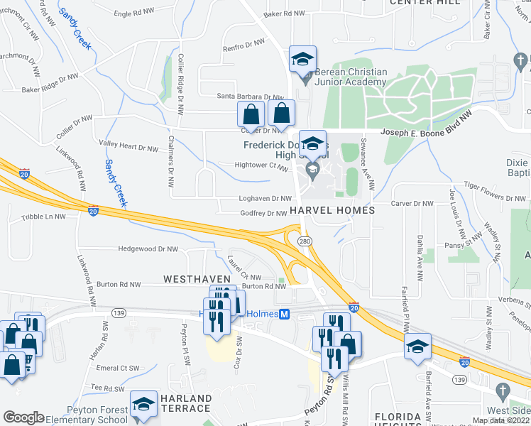 map of restaurants, bars, coffee shops, grocery stores, and more near Godfrey Drive Northwest in Atlanta