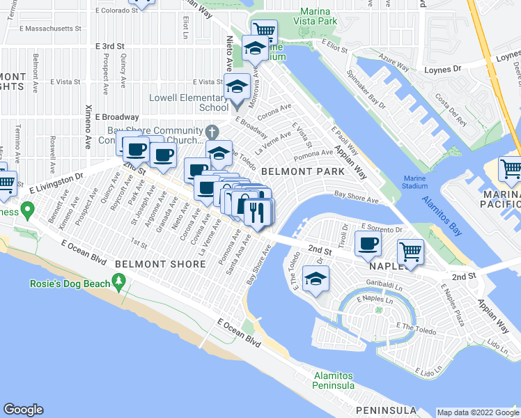 map of restaurants, bars, coffee shops, grocery stores, and more near 217 Santa Ana Avenue in Long Beach
