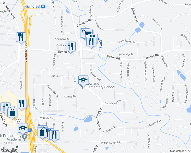 map of restaurants, bars, coffee shops, grocery stores, and more near 7013 Seneca Way in Stone Mountain