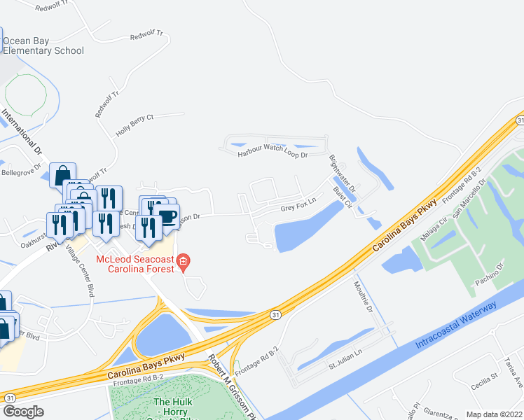 map of restaurants, bars, coffee shops, grocery stores, and more near 45 Hinson Drive in Myrtle Beach