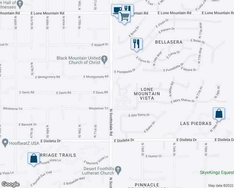 map of restaurants, bars, coffee shops, grocery stores, and more near 30396 North 72nd Place in Scottsdale