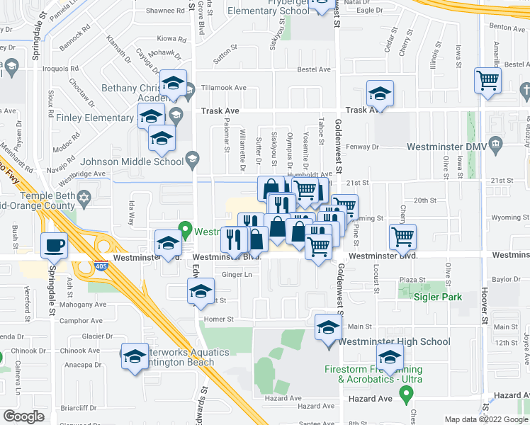 map of restaurants, bars, coffee shops, grocery stores, and more near 6705 Westminster Blvd in Westminster