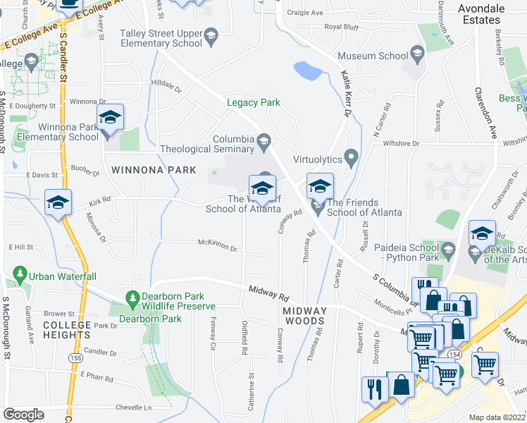 map of restaurants, bars, coffee shops, grocery stores, and more near 821 Kirk Road in Decatur