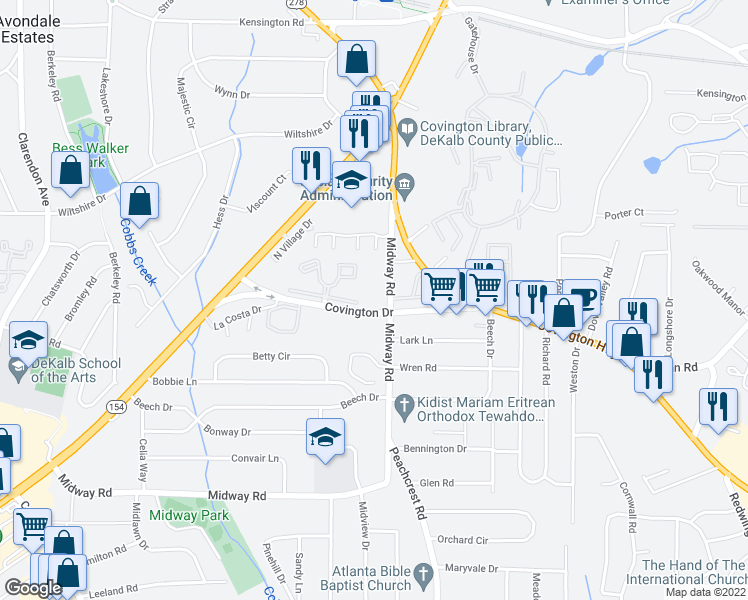 map of restaurants, bars, coffee shops, grocery stores, and more near 3362 Covington Drive in Decatur
