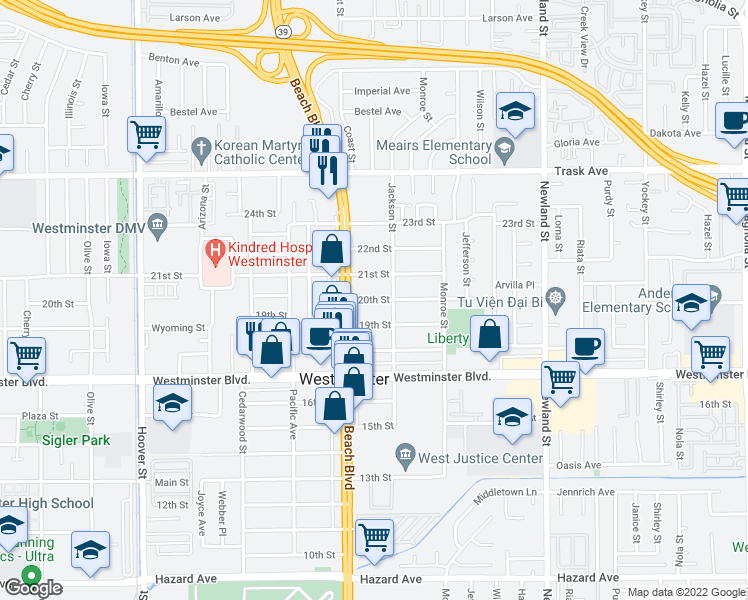 map of restaurants, bars, coffee shops, grocery stores, and more near 20th Street in Westminster