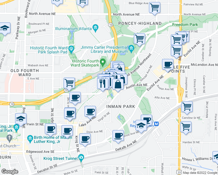 map of restaurants, bars, coffee shops, grocery stores, and more near 240 North Highland Avenue Northeast in Atlanta
