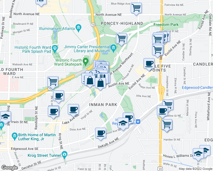 map of restaurants, bars, coffee shops, grocery stores, and more near 928 Austin Avenue Northeast in Atlanta