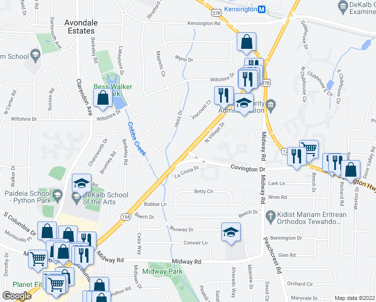 map of restaurants, bars, coffee shops, grocery stores, and more near 3189-3289 Covington Drive in Decatur