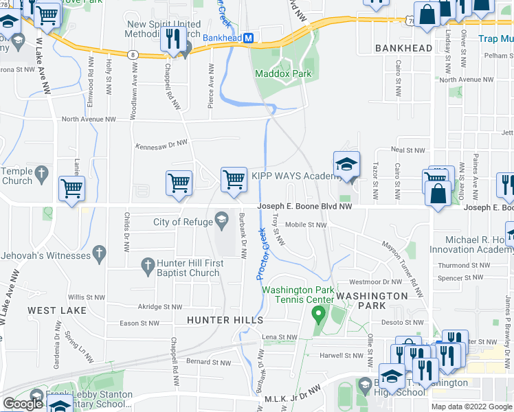 map of restaurants, bars, coffee shops, grocery stores, and more near 1247 Joseph E. Boone Boulevard Northwest in Atlanta