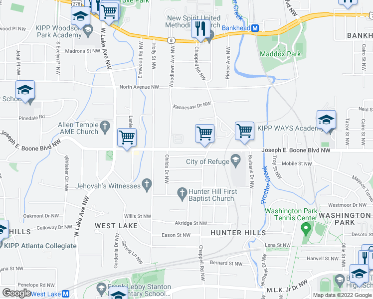 map of restaurants, bars, coffee shops, grocery stores, and more near Joseph E. Boone Boulevard Northwest in Atlanta