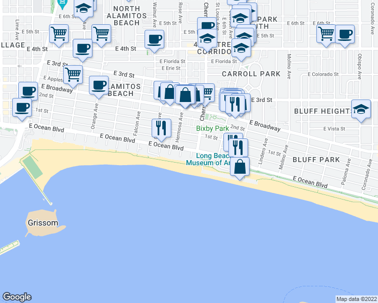 map of restaurants, bars, coffee shops, grocery stores, and more near 27 Cherry Avenue in Long Beach