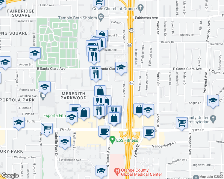 map of restaurants, bars, coffee shops, grocery stores, and more near 2233 Catalina Avenue in Santa Ana