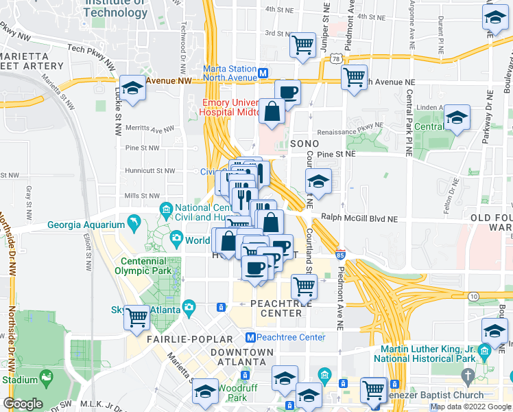 map of restaurants, bars, coffee shops, grocery stores, and more near 7 Alexander Street Northeast in Atlanta