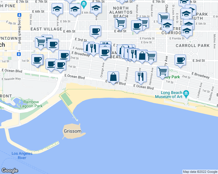 map of restaurants, bars, coffee shops, grocery stores, and more near 7th Place in Long Beach