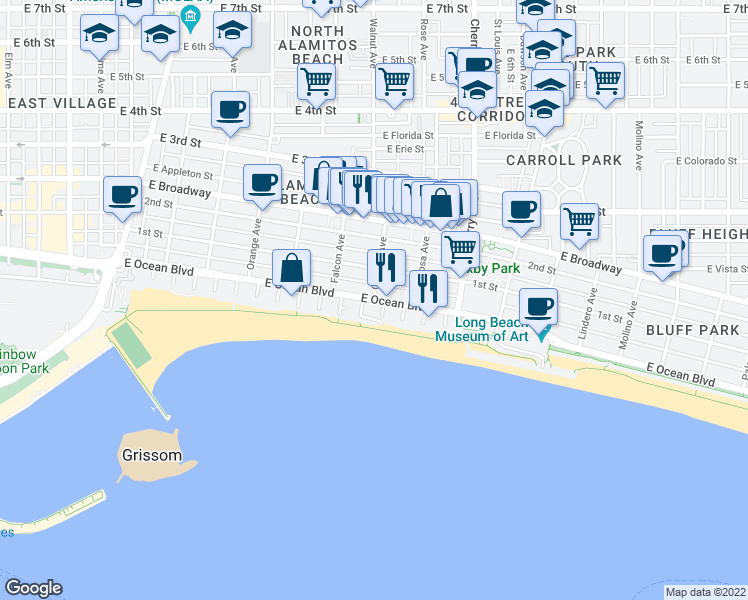 map of restaurants, bars, coffee shops, grocery stores, and more near East Ocean Boulevard & Gaviota Avenue in Long Beach