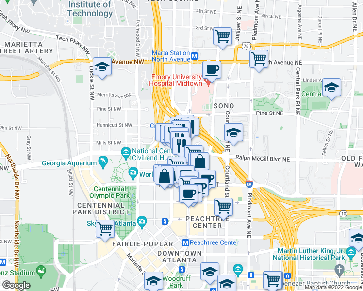 map of restaurants, bars, coffee shops, grocery stores, and more near 400 West Peachtree Street Northwest in Atlanta