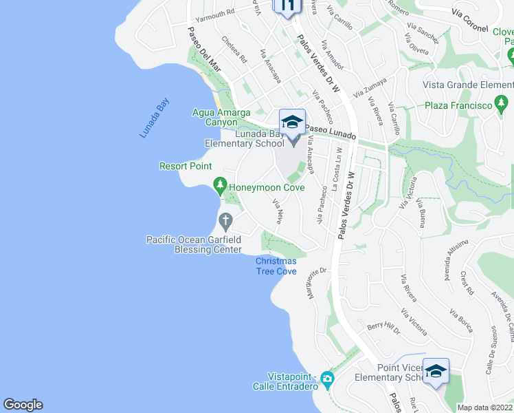map of restaurants, bars, coffee shops, grocery stores, and more near 2812 Paseo Del Mar in Palos Verdes Estates