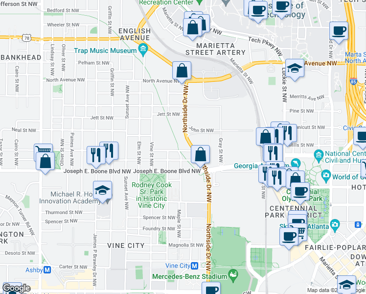map of restaurants, bars, coffee shops, grocery stores, and more near 370 Northside Drive Northwest in Atlanta