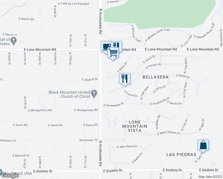 map of restaurants, bars, coffee shops, grocery stores, and more near 7272 East Visao Drive in Scottsdale