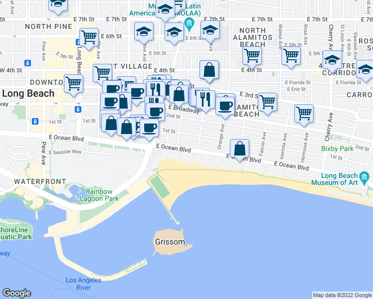 map of restaurants, bars, coffee shops, grocery stores, and more near East Ocean Boulevard in Long Beach