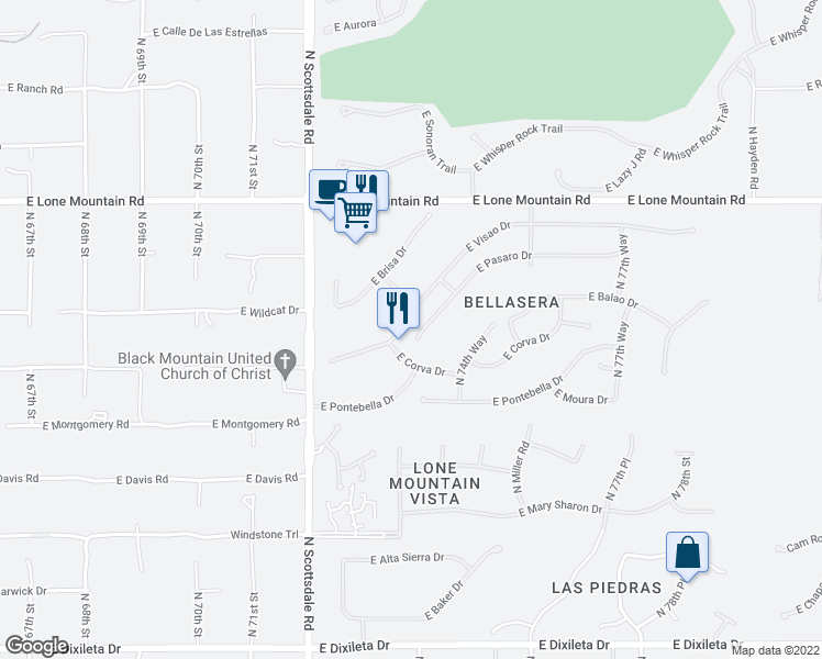 map of restaurants, bars, coffee shops, grocery stores, and more near 7371 East Visao Drive in Scottsdale
