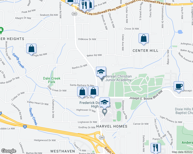 map of restaurants, bars, coffee shops, grocery stores, and more near 405 Hamilton E Holmes Drive Northwest in Atlanta