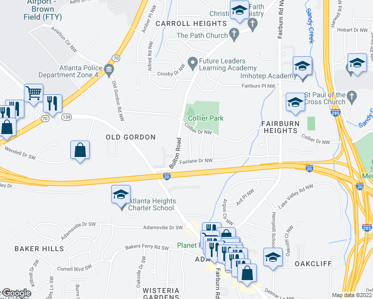 map of restaurants, bars, coffee shops, grocery stores, and more near 444 Fairlock Ln NW in Atlanta
