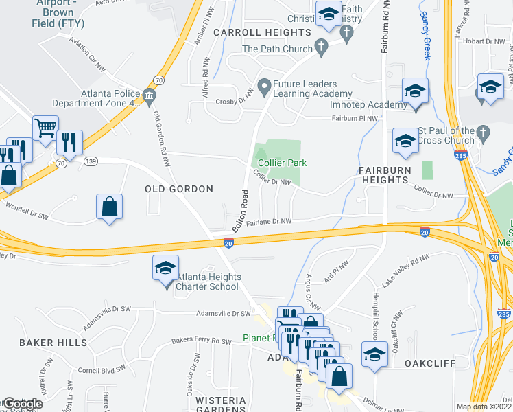 map of restaurants, bars, coffee shops, grocery stores, and more near 444 Fairlock Lane Northwest in Atlanta
