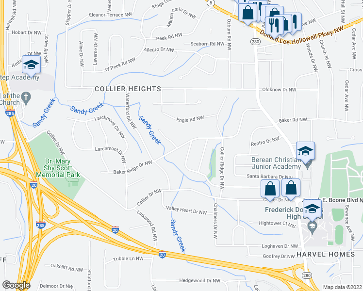 map of restaurants, bars, coffee shops, grocery stores, and more near Baker Ridge Drive Northwest in Atlanta