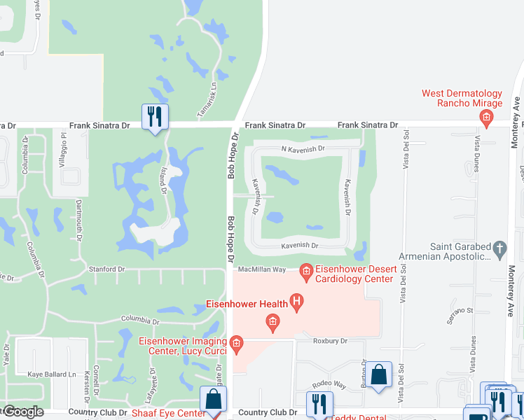 map of restaurants, bars, coffee shops, grocery stores, and more near 234 North Kavenish Drive in Rancho Mirage