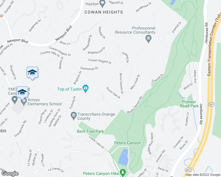 map of restaurants, bars, coffee shops, grocery stores, and more near 10542 Grove Oak Drive in Santa Ana