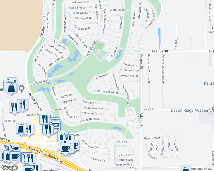map of restaurants, bars, coffee shops, grocery stores, and more near 38562 Fallbrook Avenue in Palm Desert
