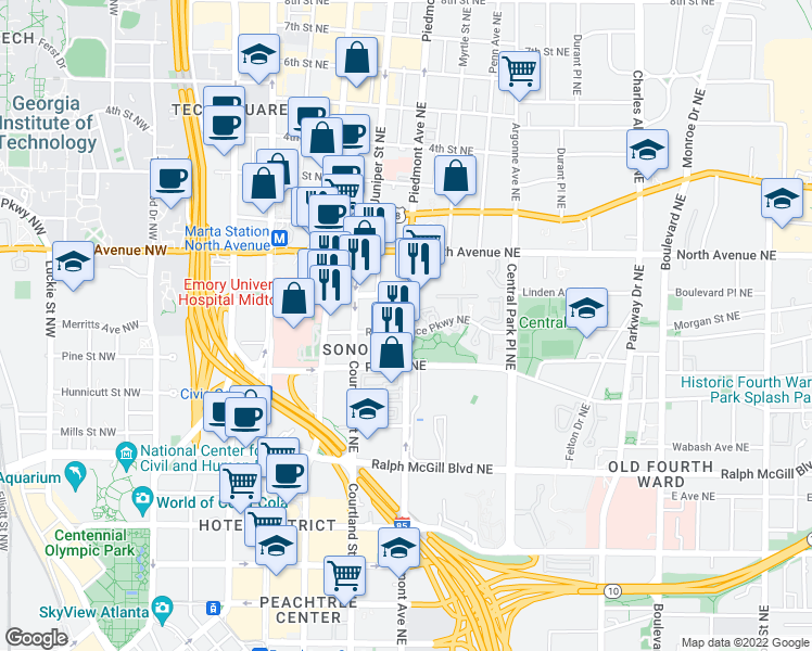 map of restaurants, bars, coffee shops, grocery stores, and more near 550 Piedmont Avenue Northeast in Atlanta