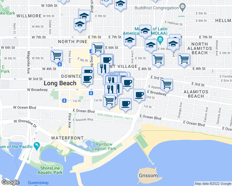 map of restaurants, bars, coffee shops, grocery stores, and more near 140 Linden Avenue in Long Beach
