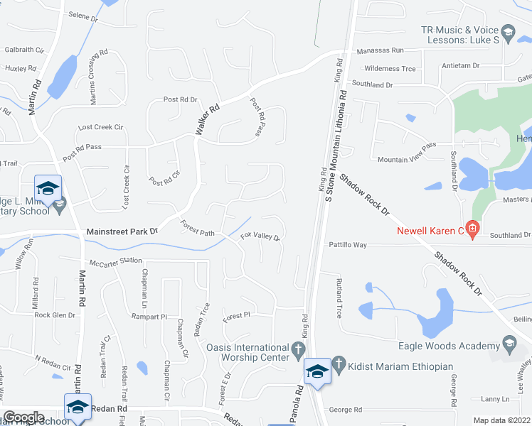 map of restaurants, bars, coffee shops, grocery stores, and more near 5434 Fox Haven Trail in Stone Mountain